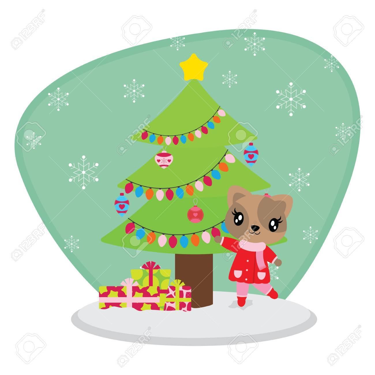 雪背景ベクトル漫画イラスト壁紙 グリーティング カード クリスマス カードのデザインをクリスマス ツリー以外にもかわいい猫の女の子のイラスト素材 ベクタ Image