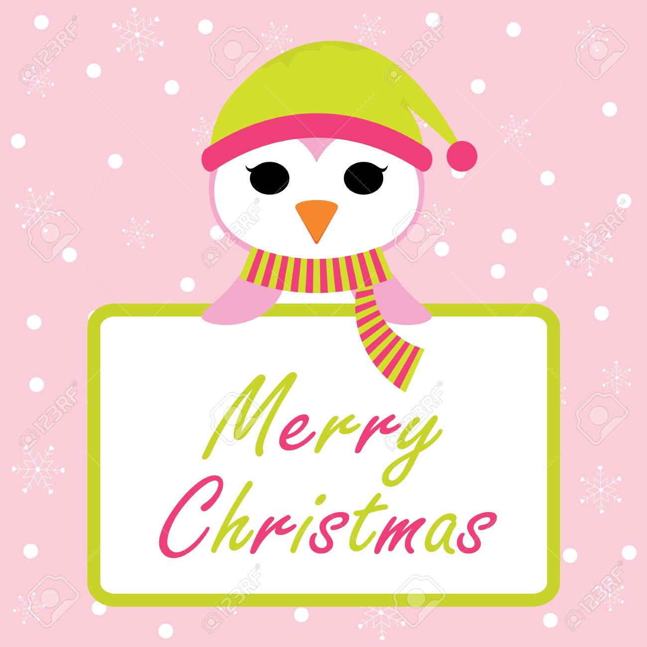 Cute Penguin With Merry Christmas Text On Snowflakes Background