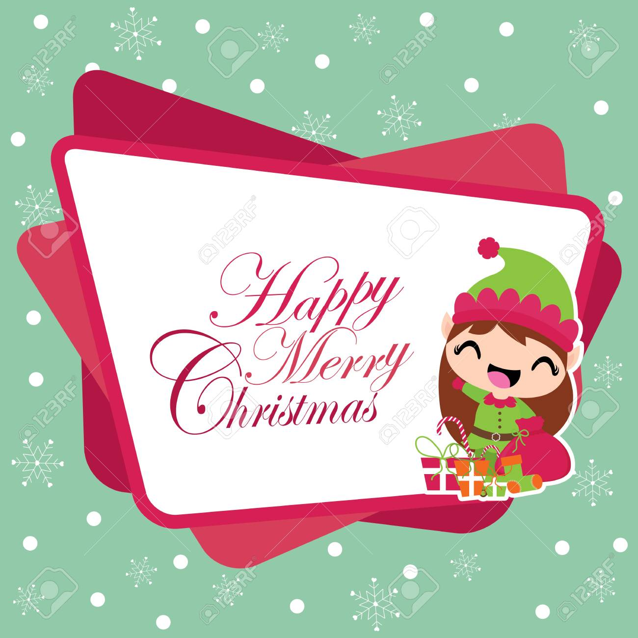 Elf Christmas Gift Bags.Cute Elf Girl With Xmas Gift Bag On Snowflakes Background Vector