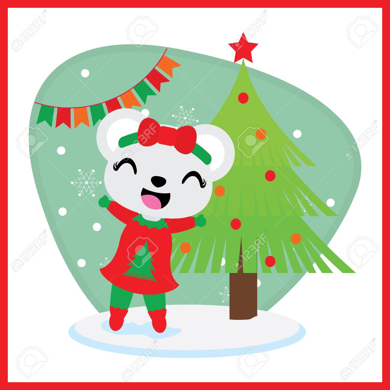 Cute bear girl besides Xmas tree vector cartoon illustration for Christmas card design, wallpaper and