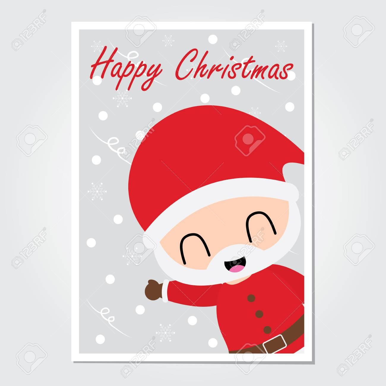 Cute Santa Claus Say Hello Vector Cartoon Illustration For Christmas Card Design Wallpaper And Greeting