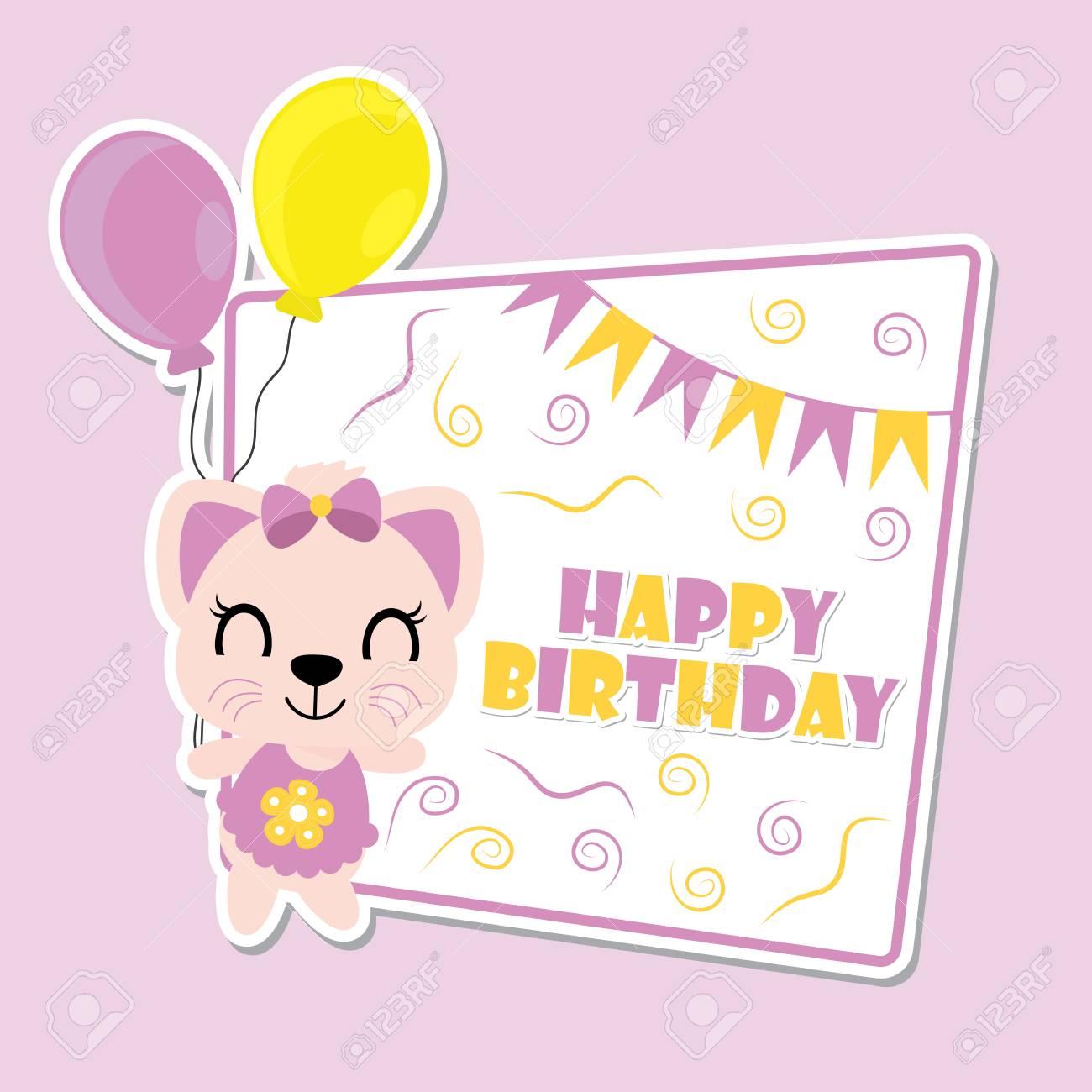 Cute Kitten Brings Balloons On Purple Frame Vector Cartoon ...