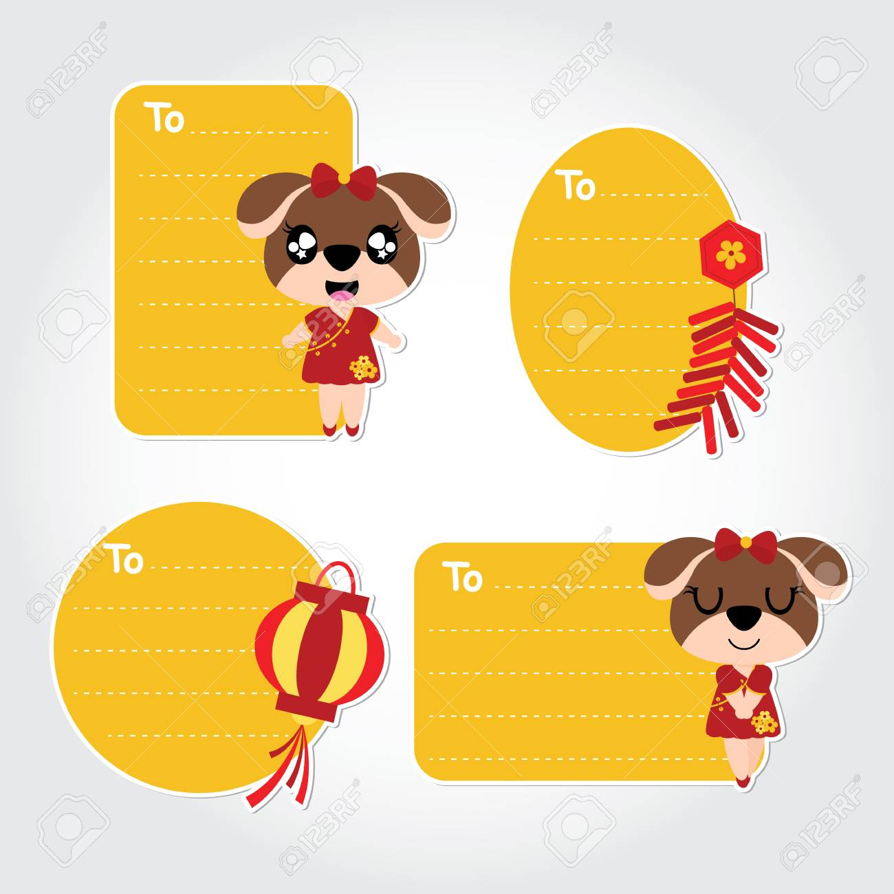 Cute Puppy Vector Cartoon Illustration For Chinese New Year Tag ...