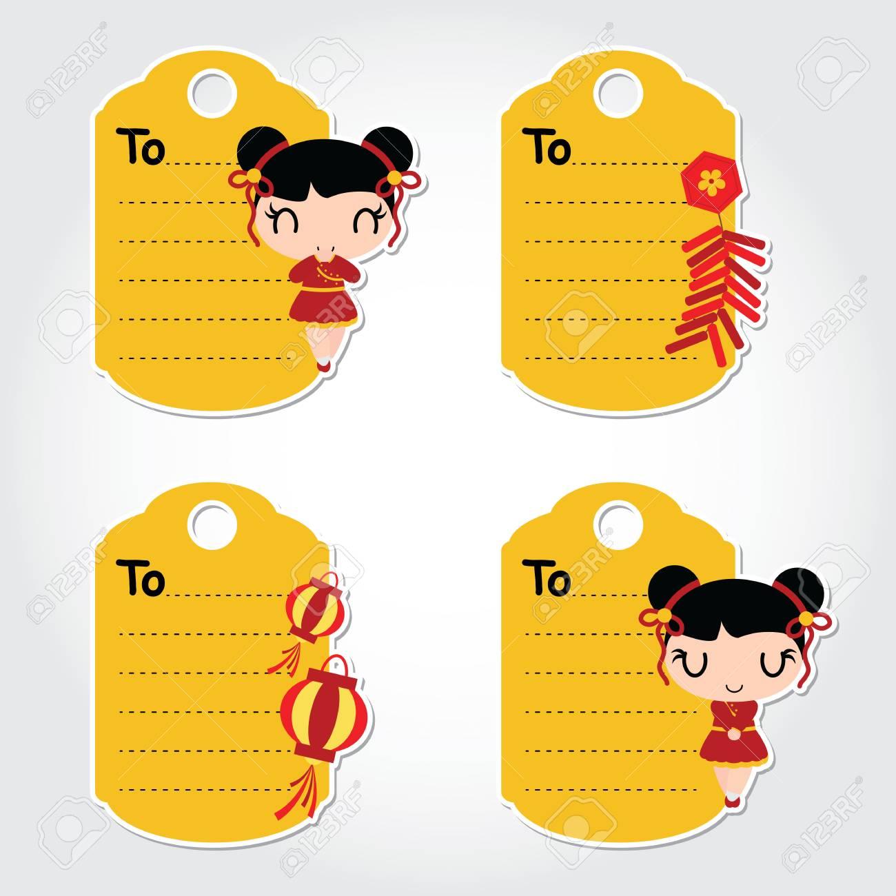 ベクトル漫画イラストをかわいい中国の女の子中国の旧正月タグ設計のため のイラスト素材 ベクタ Image