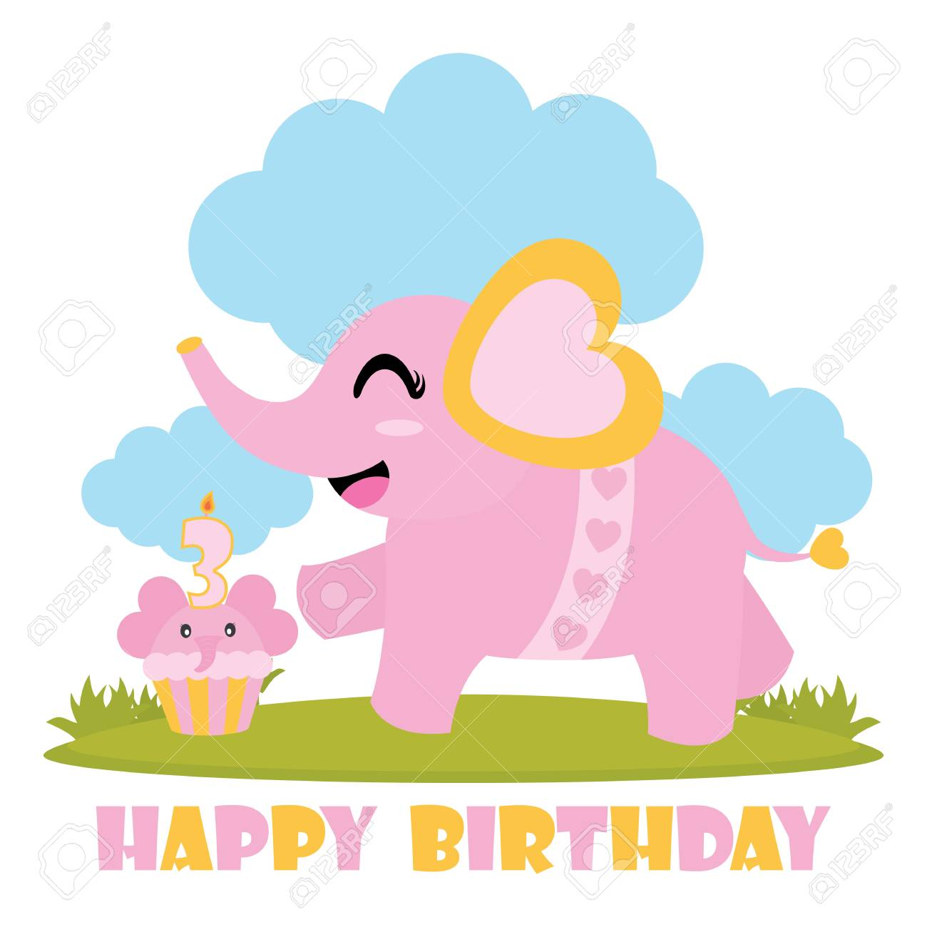 Cute Baby Elephant With Her Birthday Cake For Card Design Stock Vector