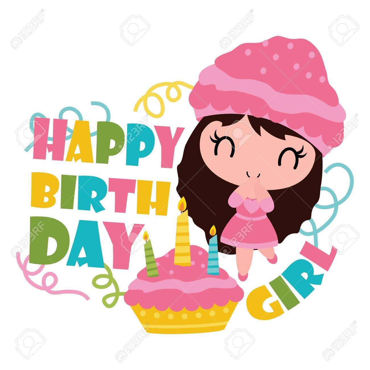 Superb Cute Cupcake Girl With Her Birthday Cake Vector Cartoon Birthday Cards Printable Nowaargucafe Filternl