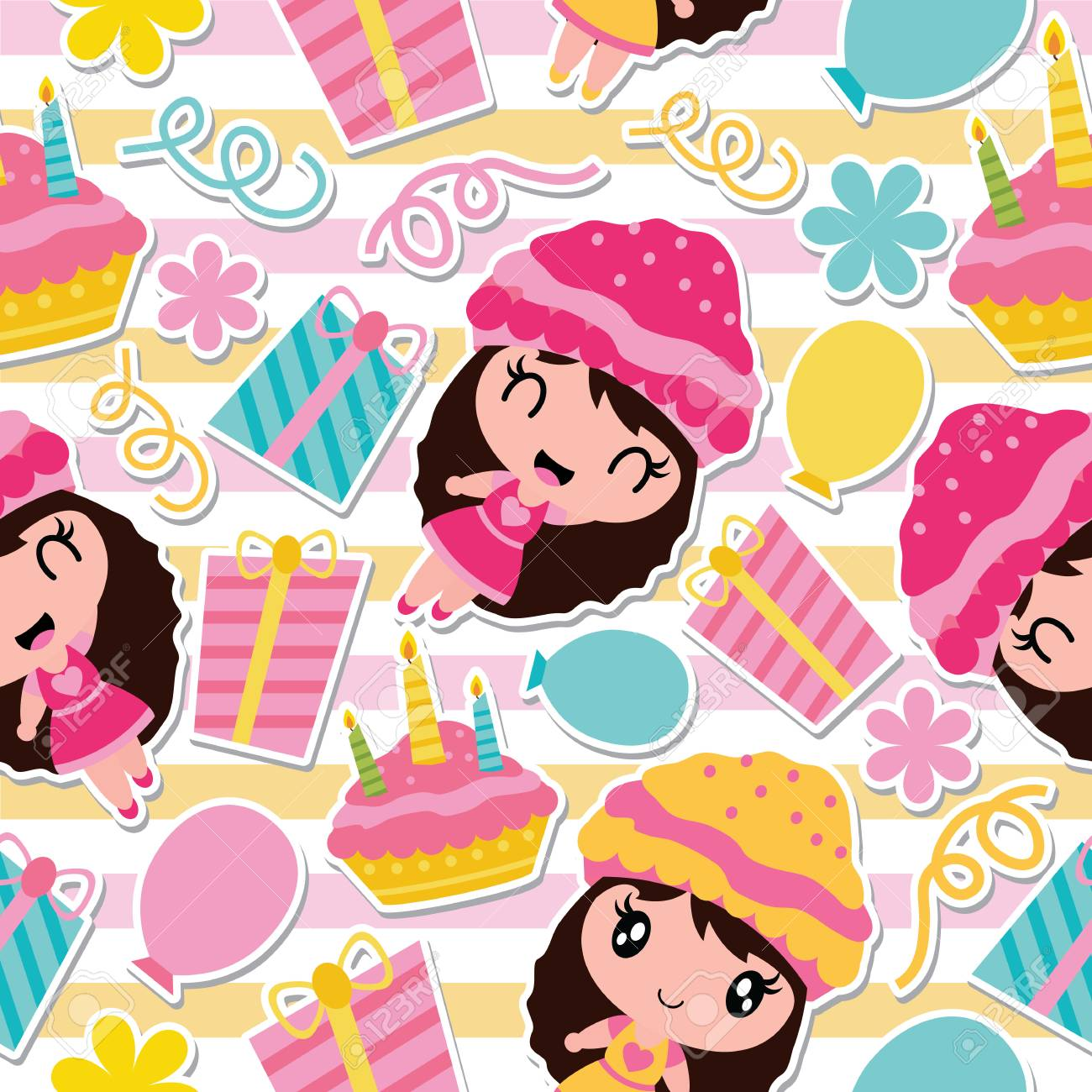 Seamless Pattern Of Cute Girl Birthday Cake And Gift On Striped