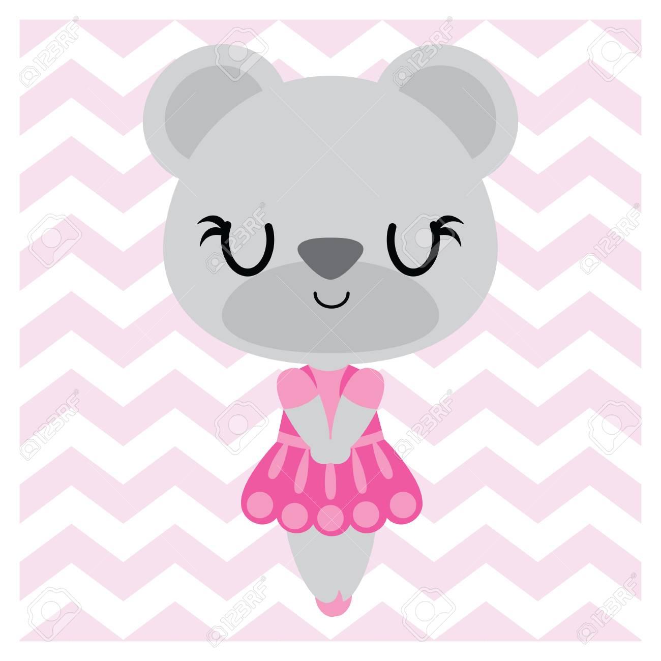 Cute bear girl on chevron background vector cartoon illustration for Baby nursery wall, wallpaper and