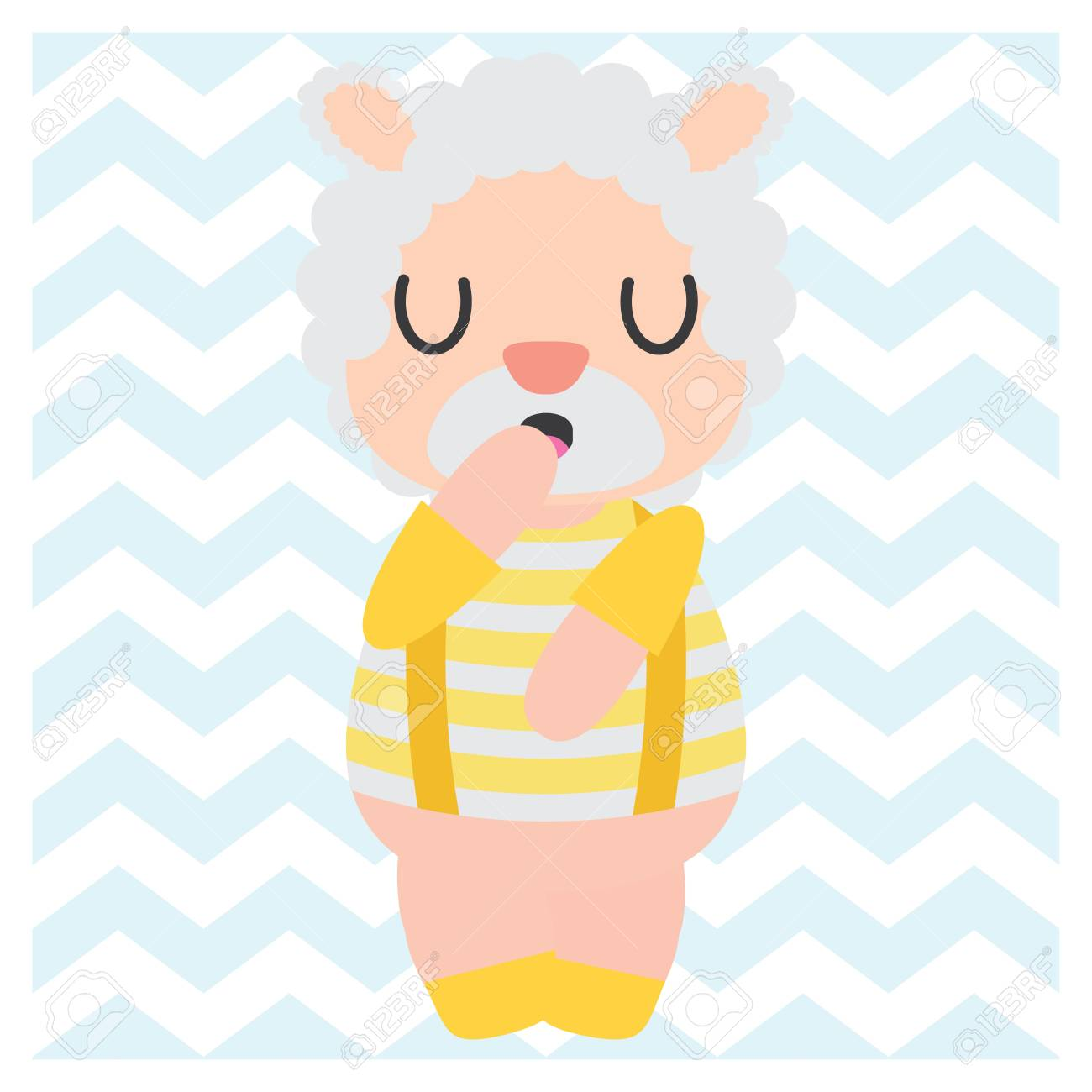 Cute Sheep Boy On Chevron Background Vector Cartoon Illustration ...