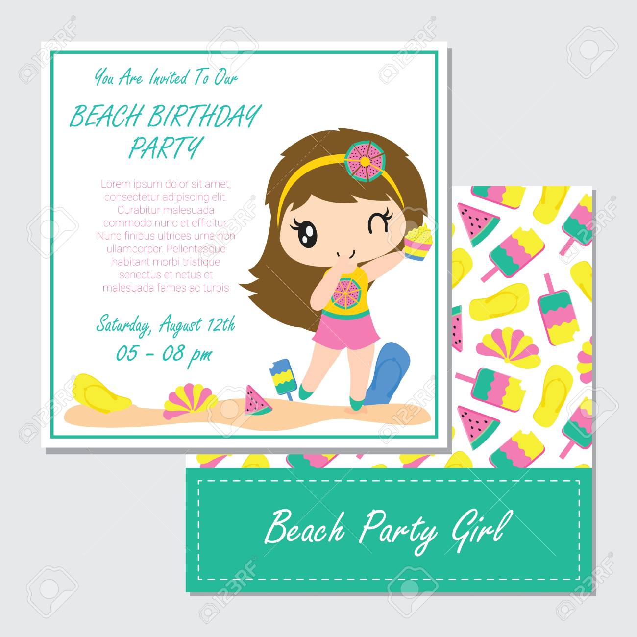 Cute Girl Plays On The Beach For Birthday Card Design Template