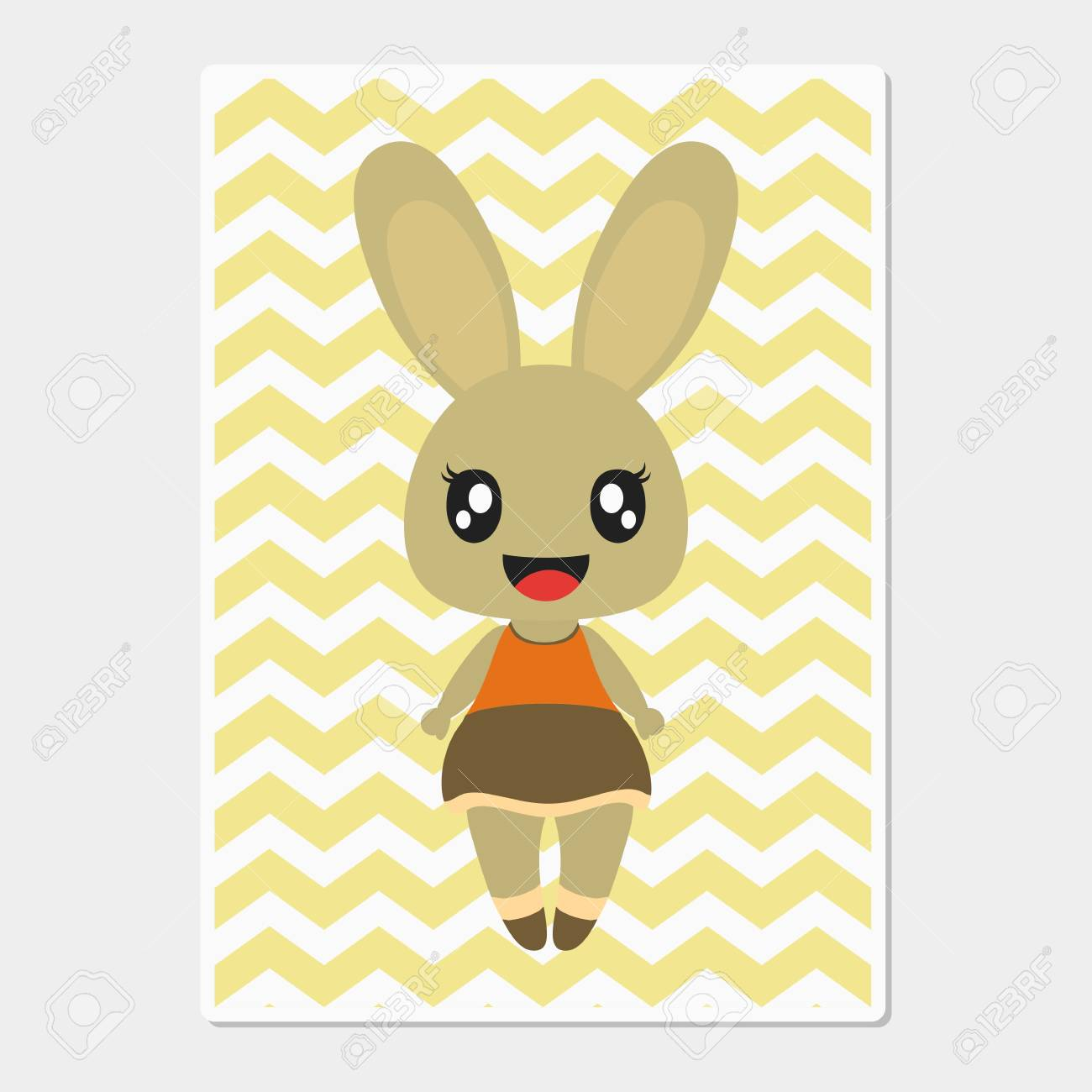 Cute Bunny Girl Smiles On Chevron Background Vector Cartoon Illustration For Baby Nursery Wall Wallpaper And Postcard