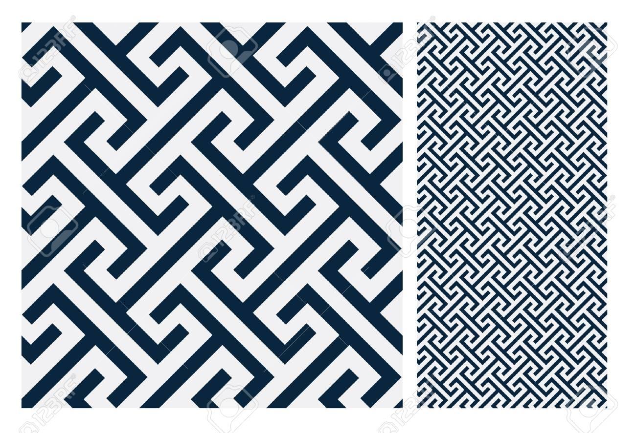 Vintage Tiles Patterns Antique Seamless Design In Vector ...