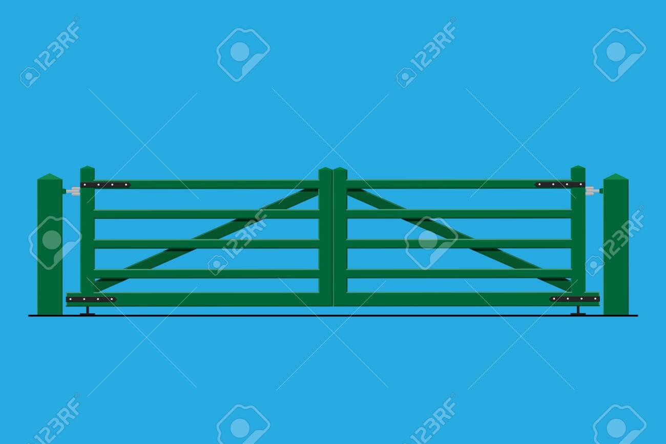 Wooden farm gates vector flat design