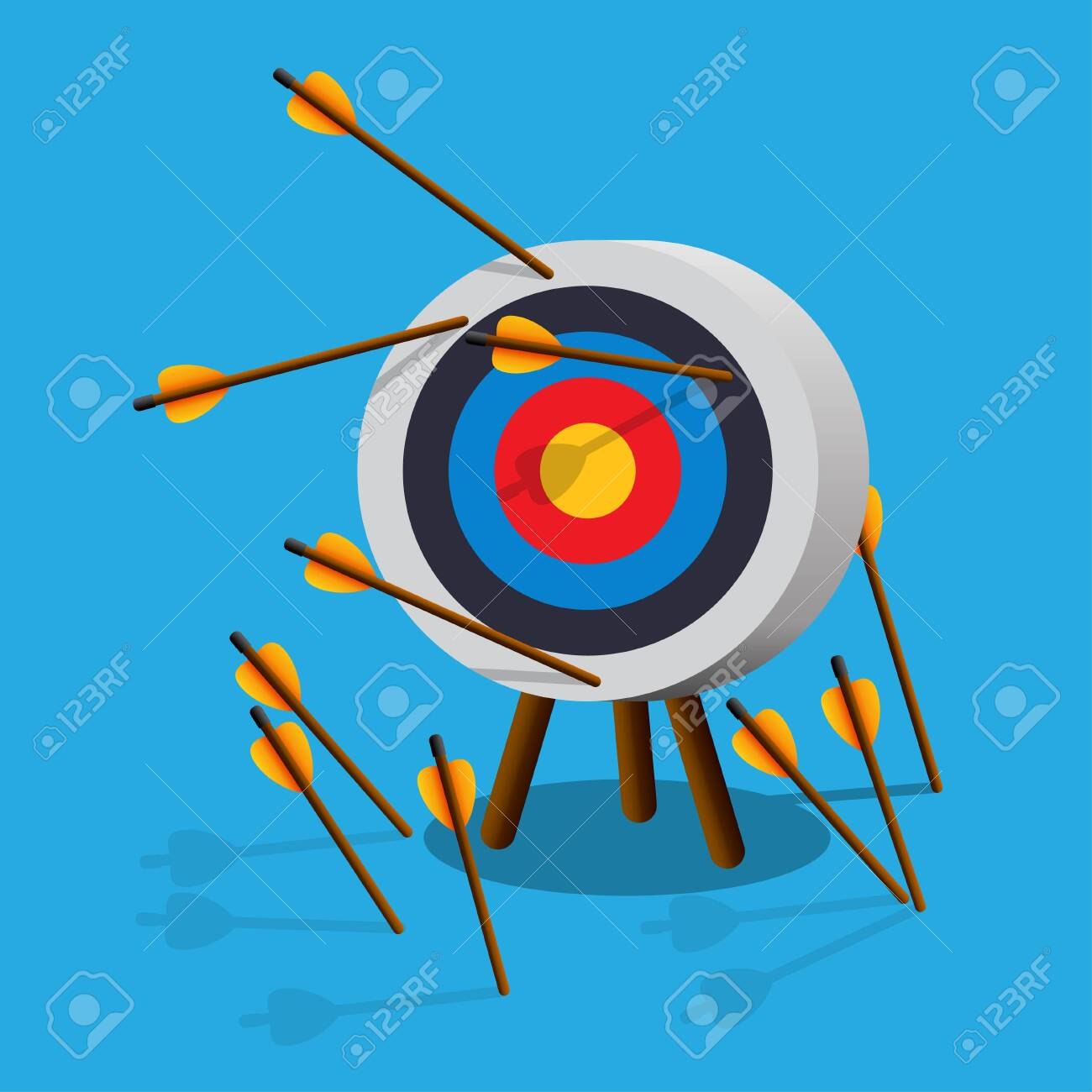 Arrows missing target.Failing to hit the target.Vector illustration. - 132895347