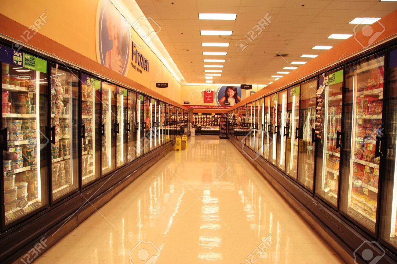 two ice box lines in supermarket of US city, normal life Stock Photo - 11720085