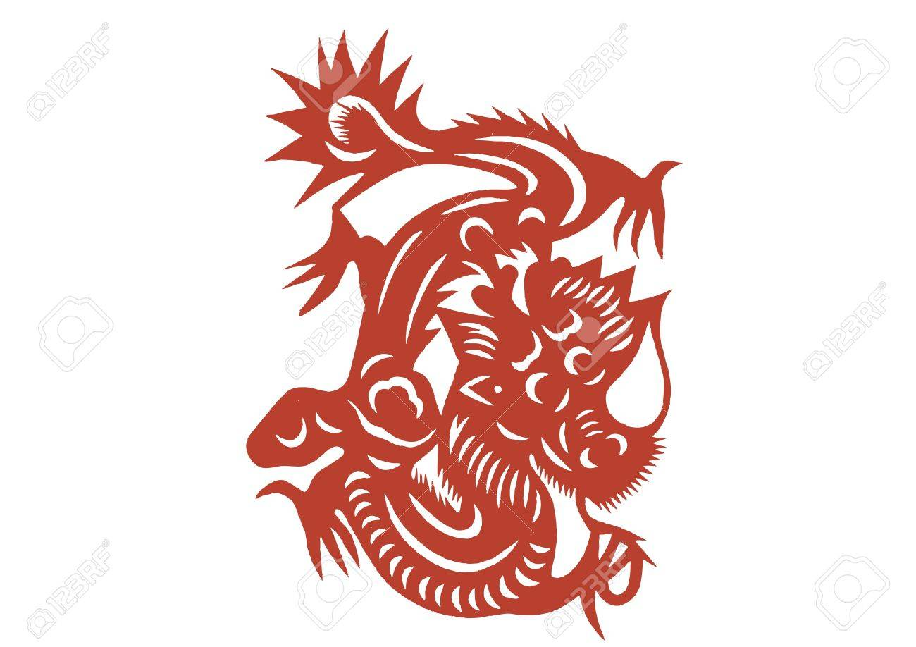 various lifelike Chinese Dragon paper cutting, all shapes can be used as symbol or tatoo Stock Vector - 16189472