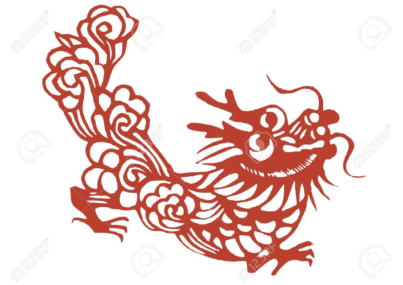 various lifelike Chinese Dragon paper cutting, all shapes can be used as symbol or tatoo Stock Vector - 16189439