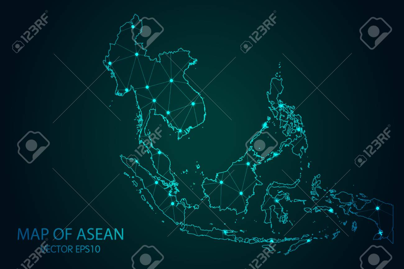 Map of Southeast Asia - With glowing point and lines scales on the dark gradient background - 96866925