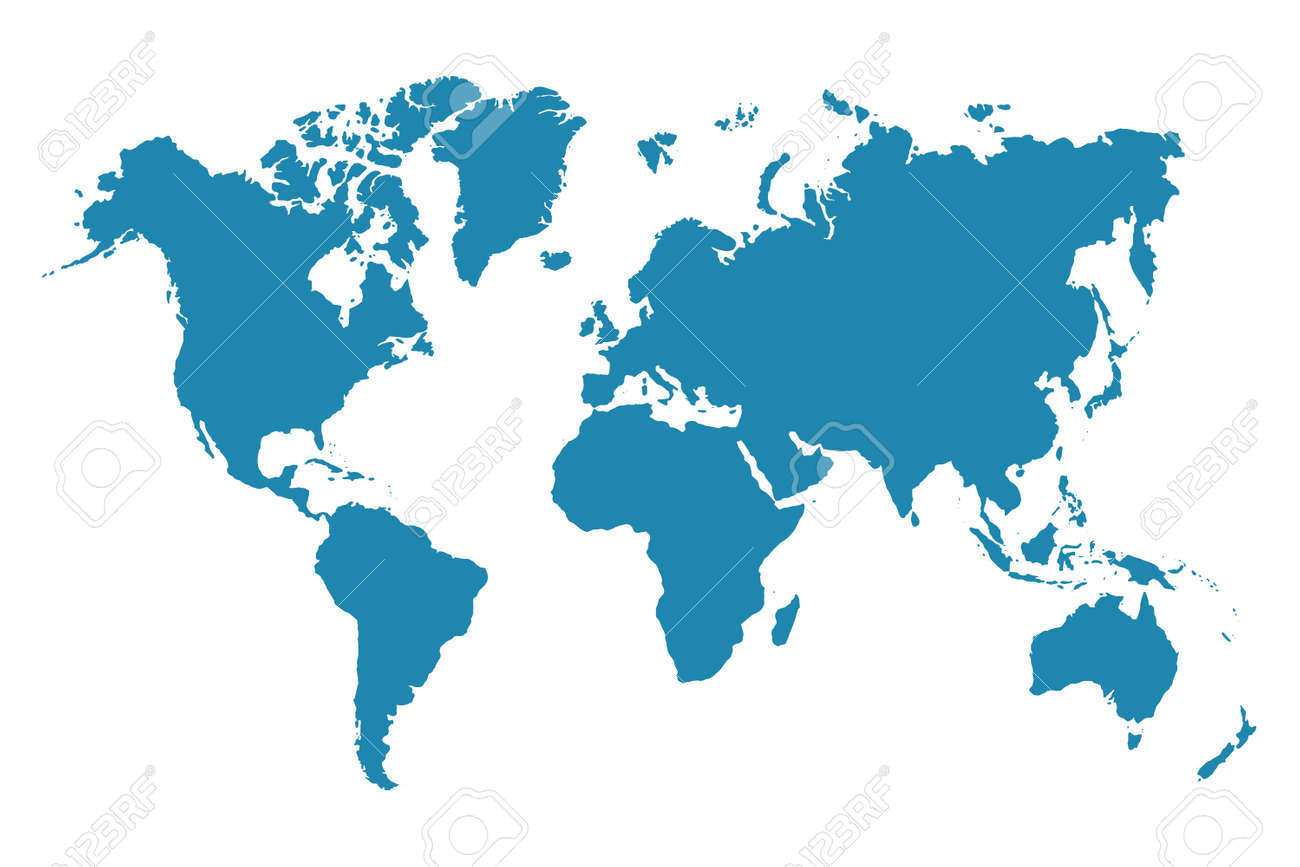 Abstract - High Detailed blue Map of World isolated on white background. for your web site design map logo, app, ui, Travel. Vector illustration - 168016646