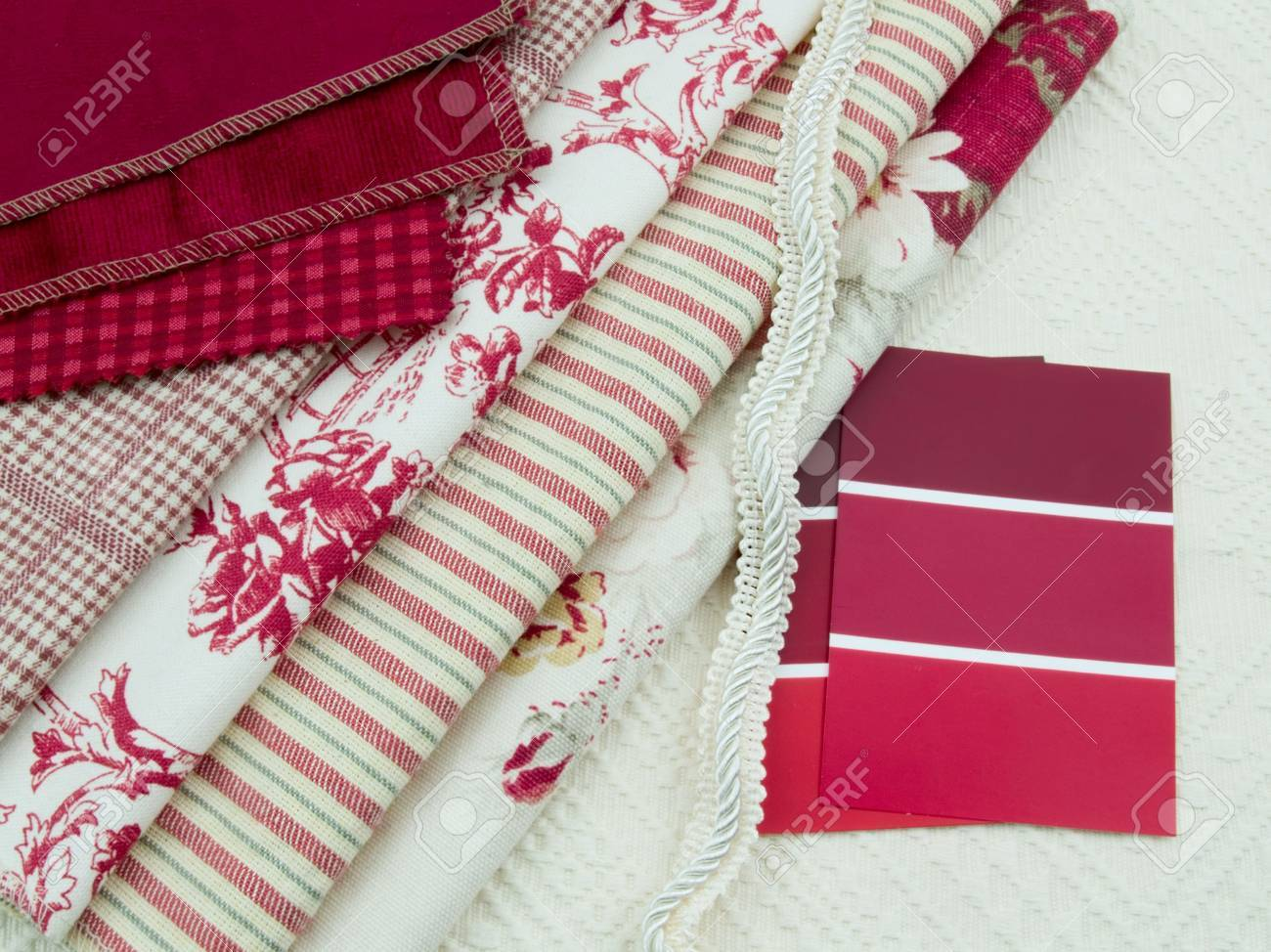 Red and white interior decoration plan color cards and textile swatches. Stock Photo - 5882808