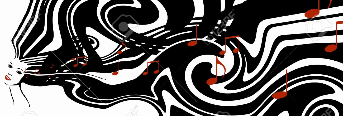 Abstract illustration jazz concept young womans face with black white flowing hair and