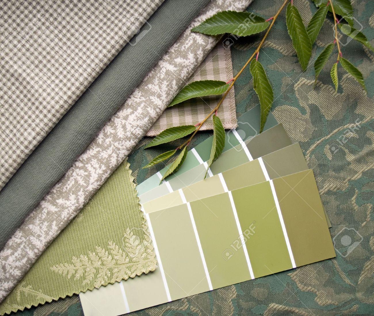 Interieur decoratie plan van aardse groen en beige prints en ...