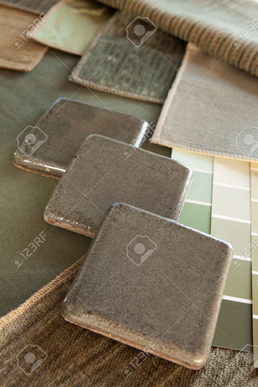 Earthy green brown interior design plan with fabric and paint color  swatches and ceramic tiles. Ceramic Tile Paint Colours