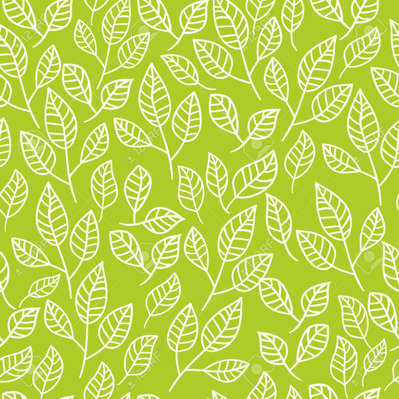Seamless watercolor background of green leaves.Pattern composed of tea leaves. Vector pattern. - 43265959