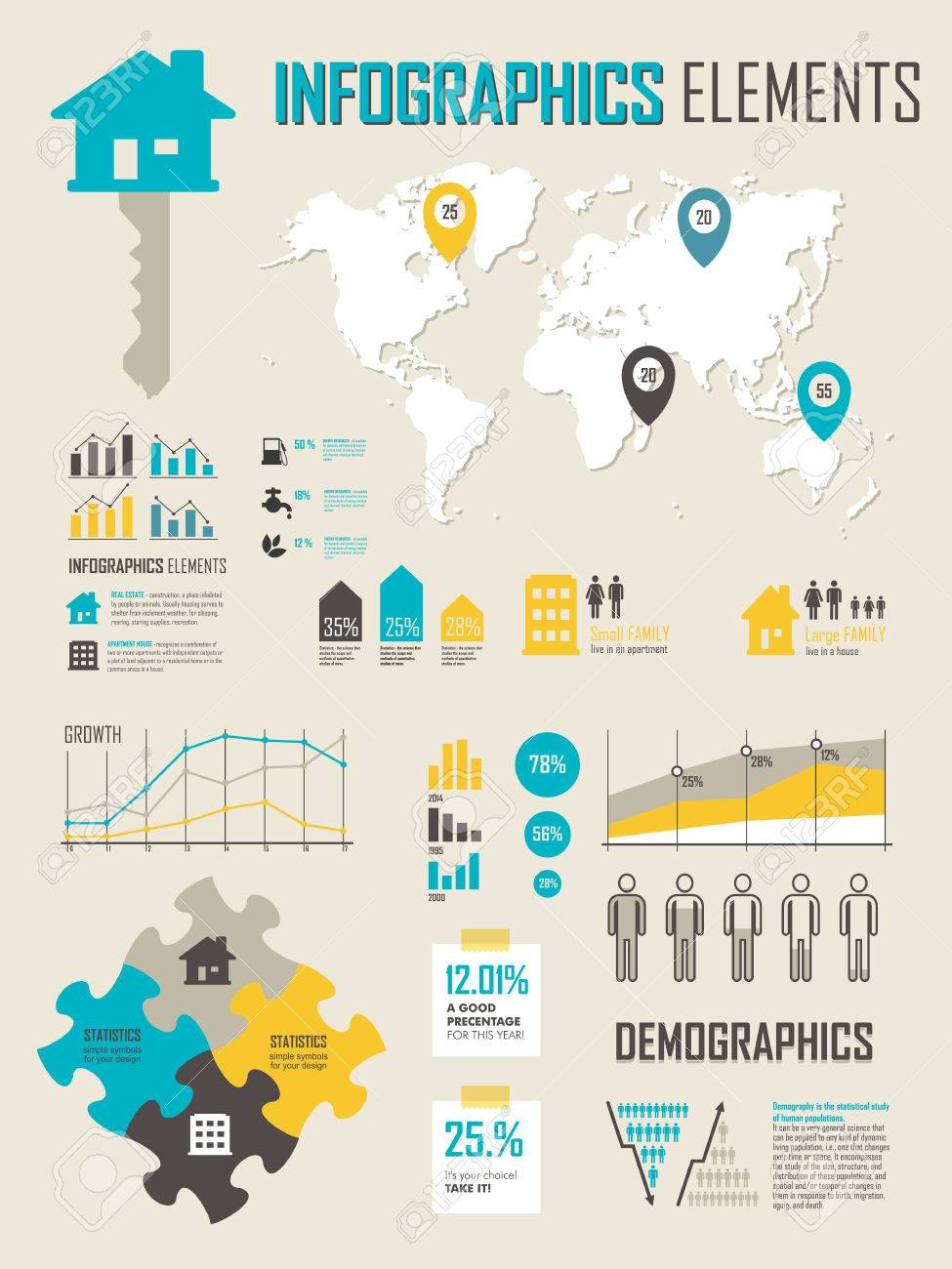 Vector illustration with map info graphics elements in yellow vector illustration with map info graphics elements in yellow blue colors info graphics set with biocorpaavc Images