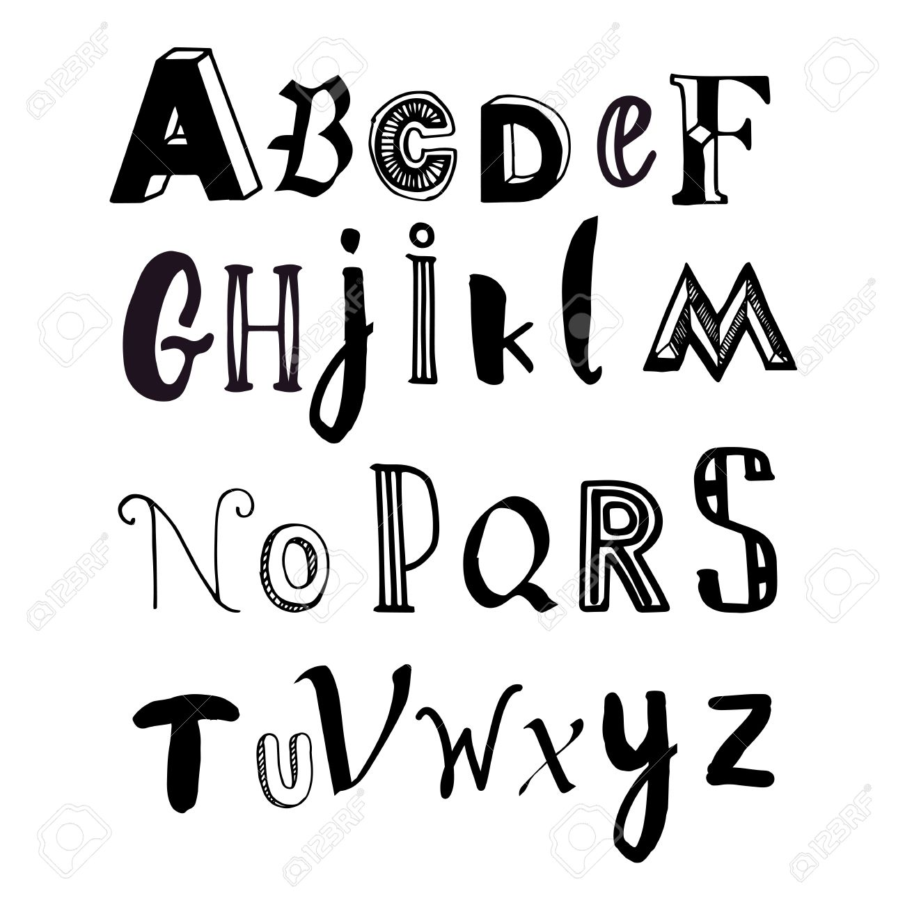 Letters Of The Alphabet Written With A Brush On White Background In Different