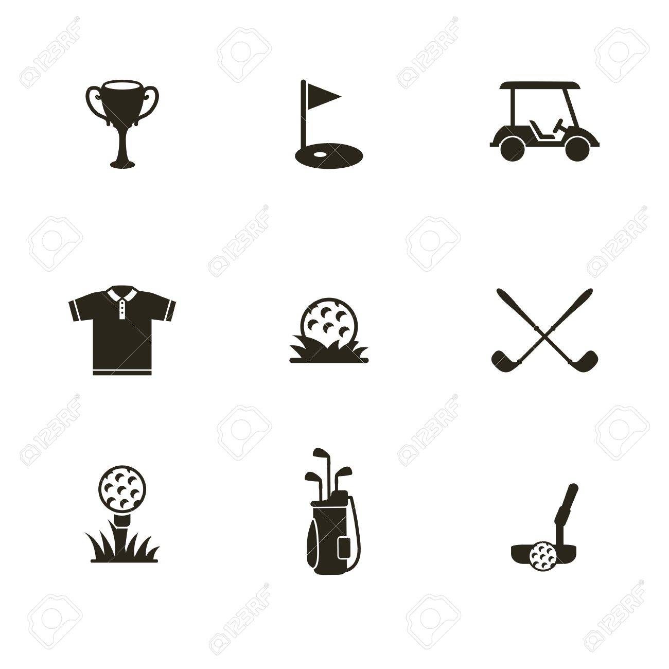 Icon of a golf ball and other attributes of the game. Black and white. - 44223019
