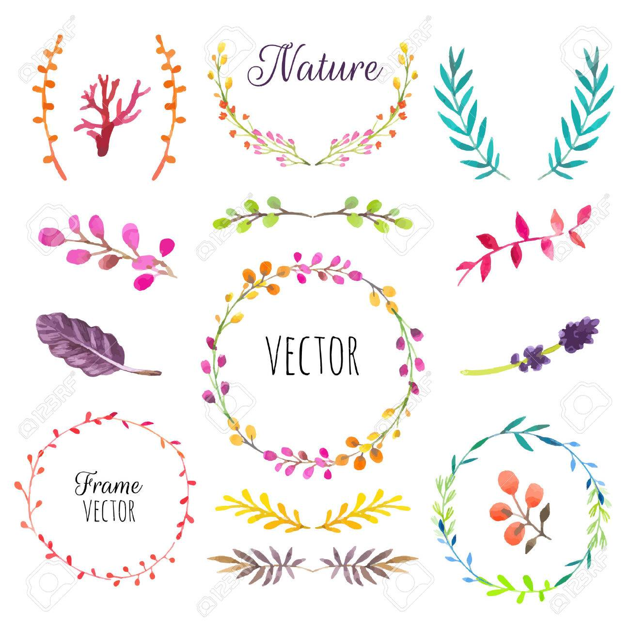 Of Wreaths Floral Motifs Watercolor Vintage Floral Trendy Set Of Wreaths
