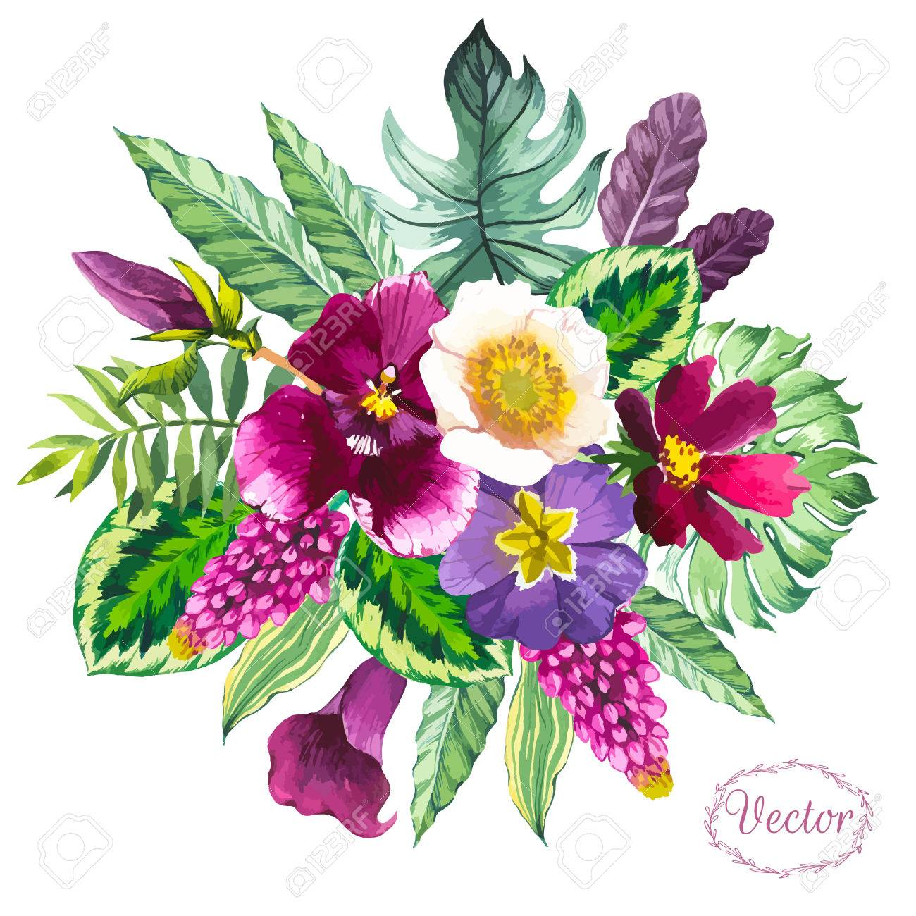Beautiful bouquet tropical flowers and plants on white background beautiful bouquet tropical flowers and plants on white background composition with monstera and palm leaves izmirmasajfo Gallery