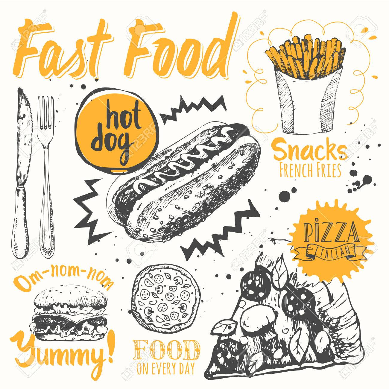 Funny labels of street food: pizza, snacks, sandwiches and hot dog. - 49287732