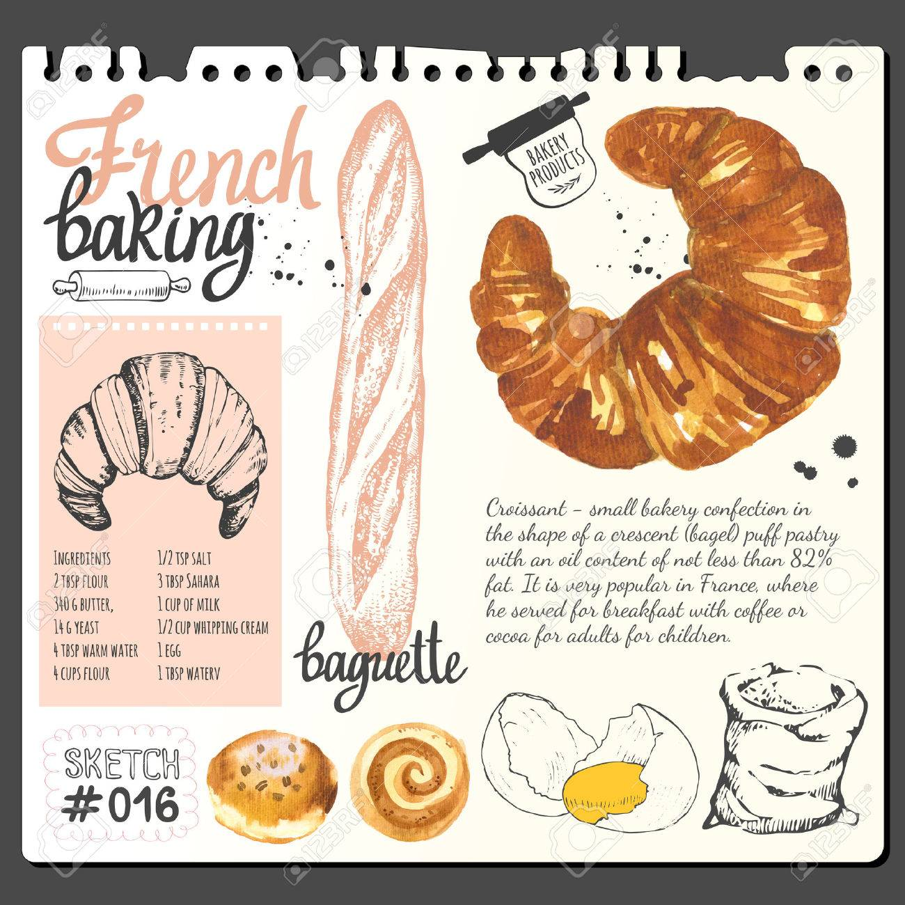 Croissant Bread Bun Baguette In Sketch Style Watercolor And Stock Photo Picture And Royalty Free Image Image 53456161