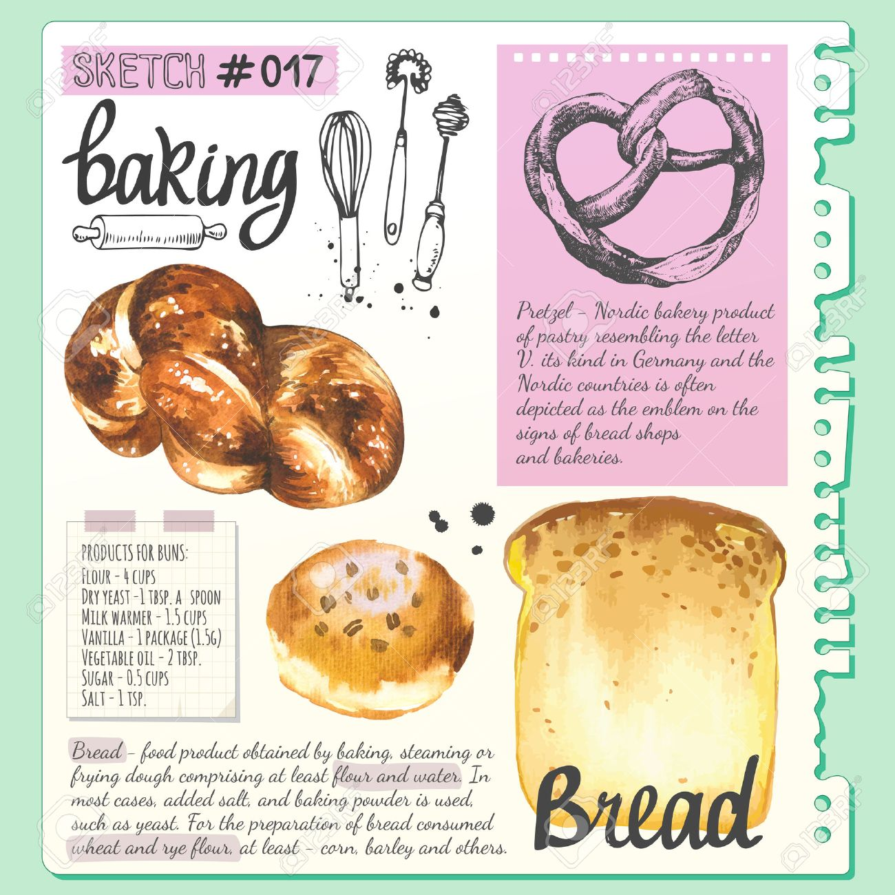 Croissant Bread Bun Baguette In Sketch Style Watercolor And Stock Photo Picture And Royalty Free Image Image 53456162