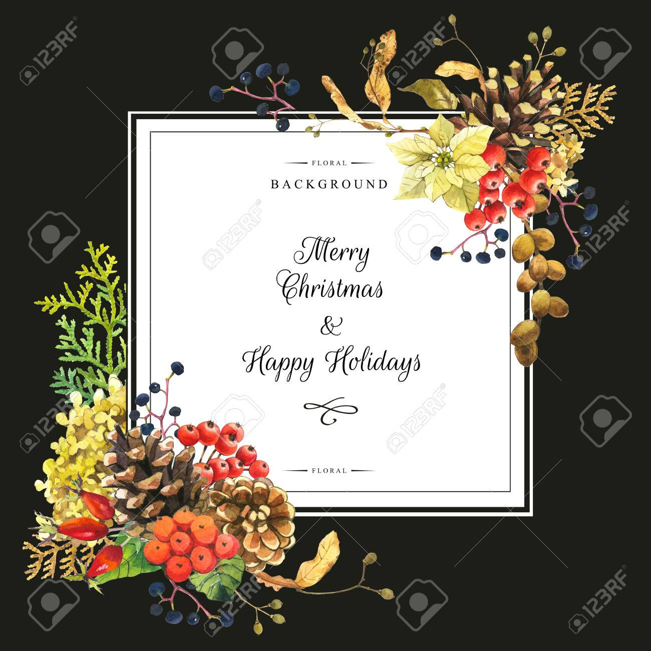 Beautiful christmas bouquet and headline with winter flowers stock beautiful christmas bouquet and headline with winter flowers and plants on black background composition with izmirmasajfo