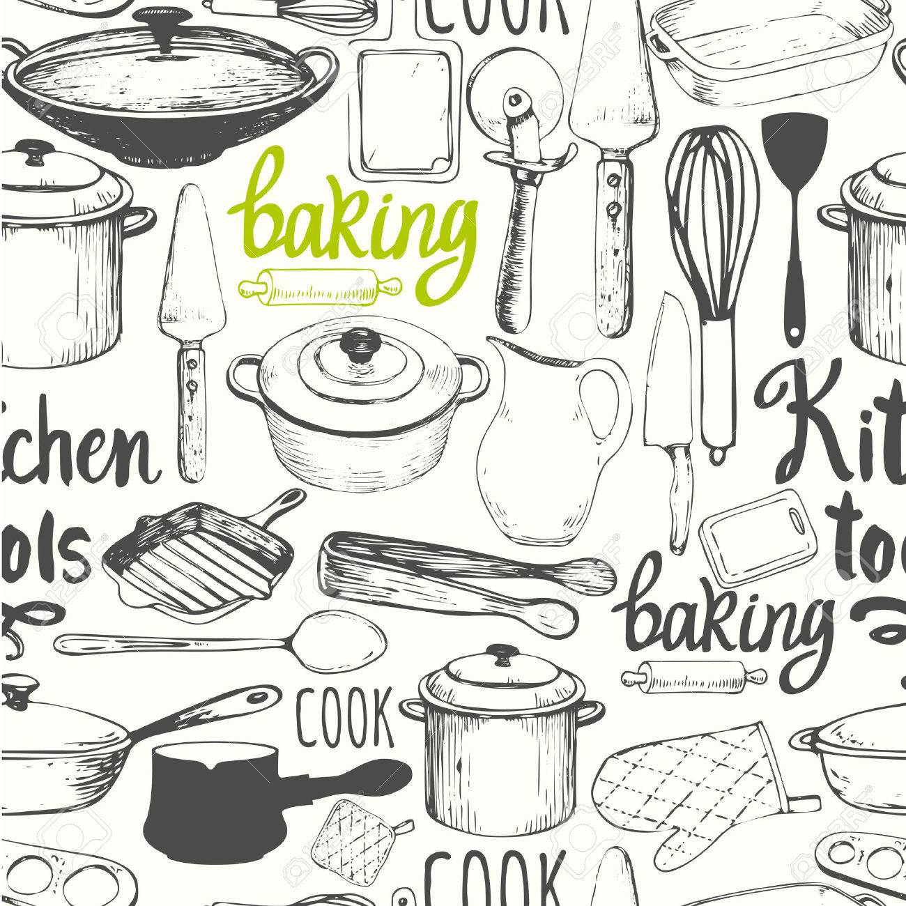 Vector Illustration with funny cooking symbols on white background. Decorative elements for your packing design. Multicolor decor. - 53455722