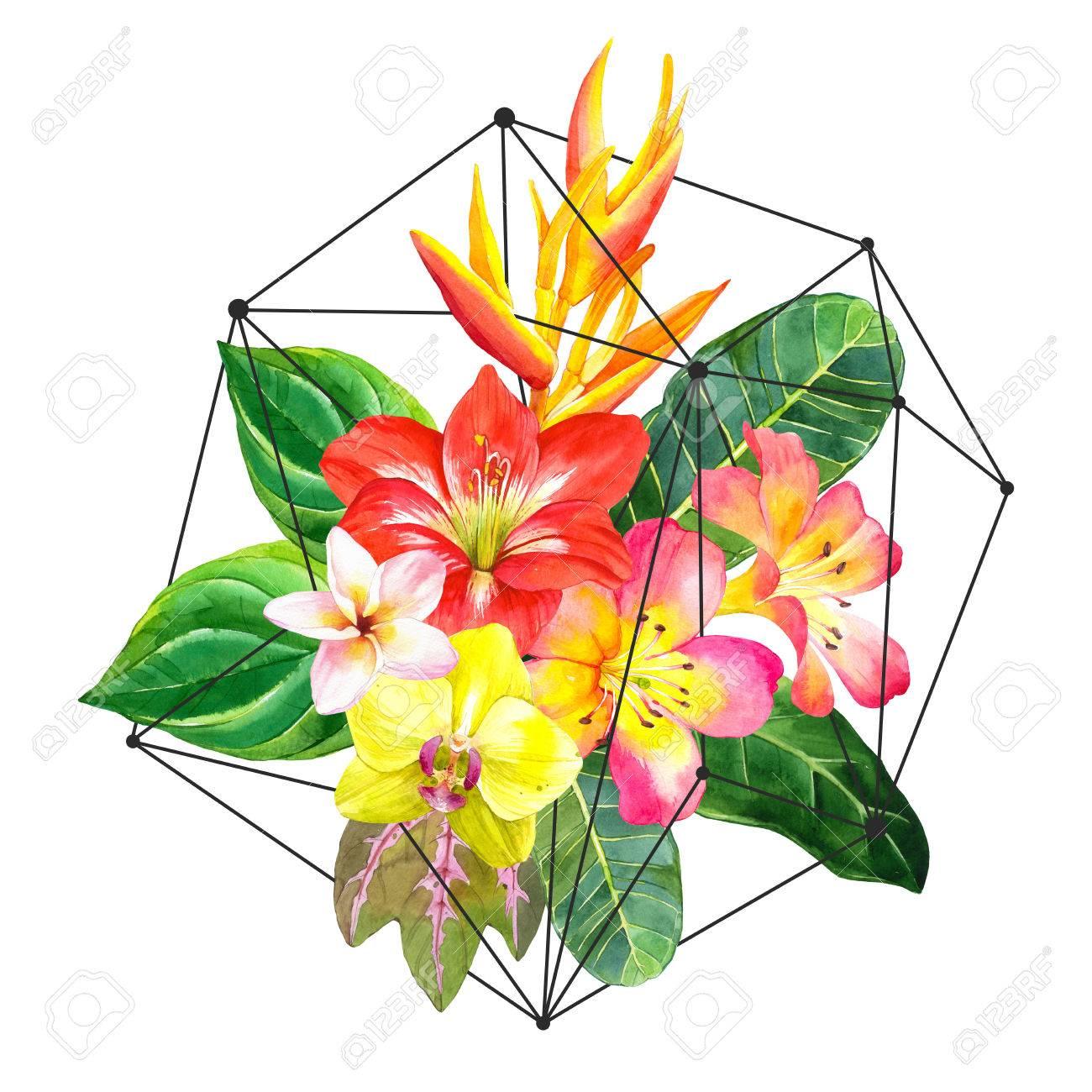Illustration Avec Des Fleurs à L Aquarelle Réalistes Magnifique Bouquet De Fleurs Et De Plantes Tropicales Sur Fond Blanc Composition Avec