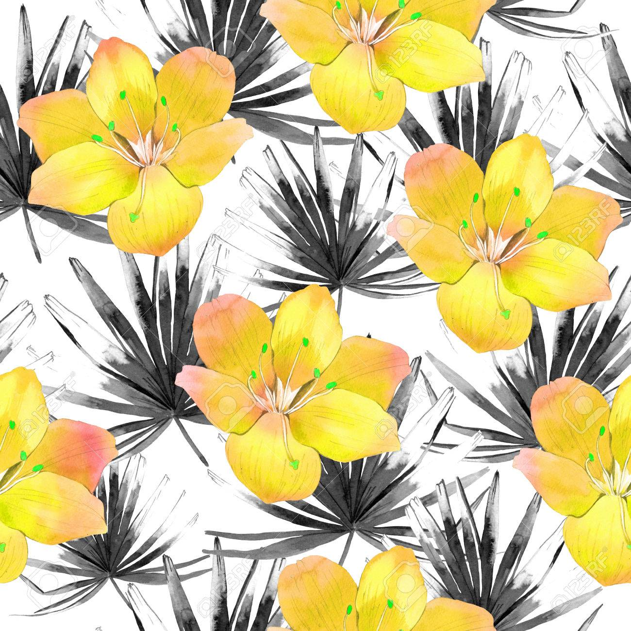 Beautiful Pattern With Tropical Black Leaves And Yellow Flowers