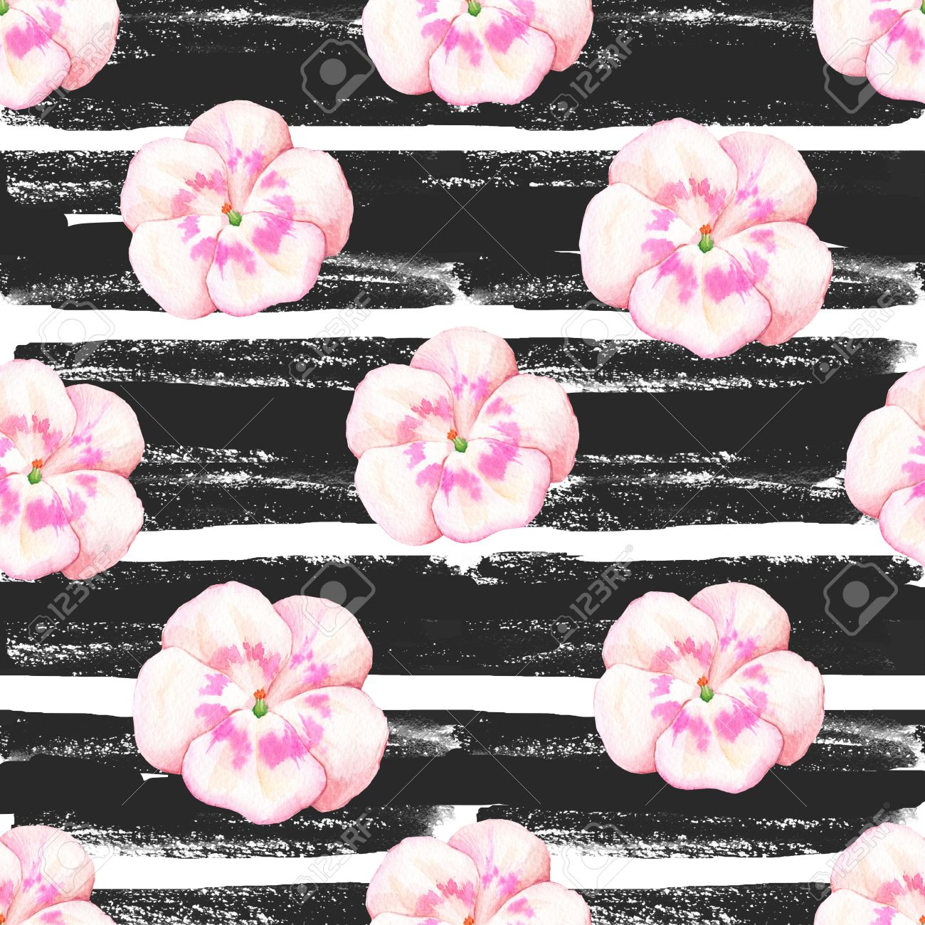 Floral Pattern With Wild Flowers On A Striped Black And White