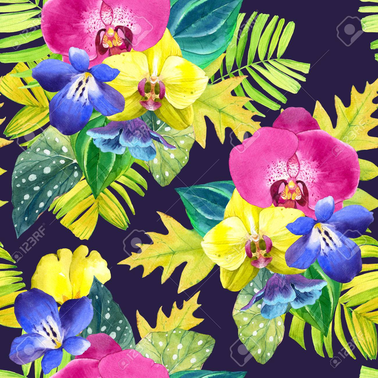 Seamless background with watercolor tropical flowers bouquet seamless background with watercolor tropical flowers bouquet with tropical plants on black and white background izmirmasajfo