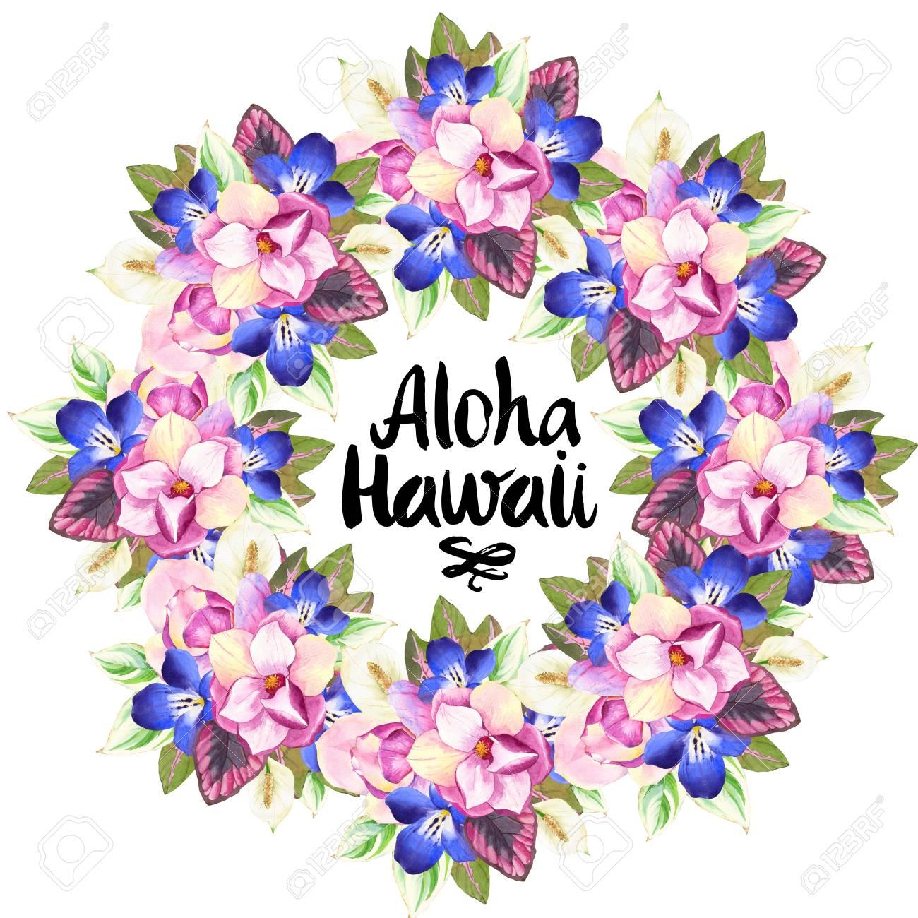 hawaiian wreath with realistic watercolor flowers aloha hawaii