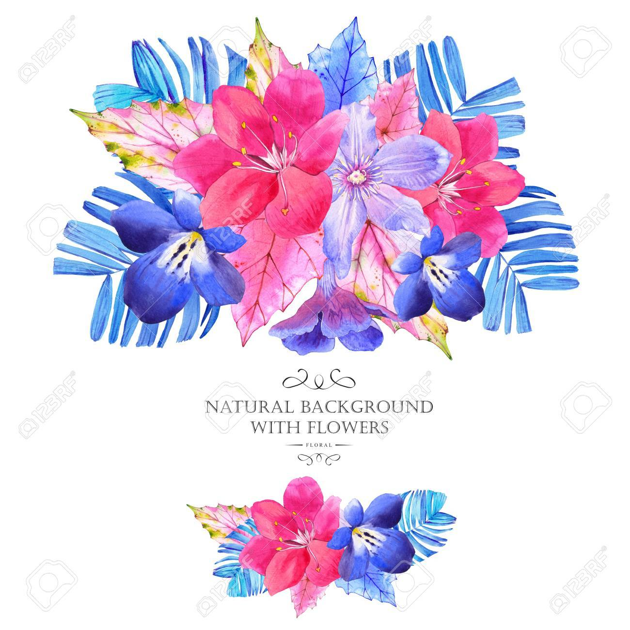 Bouquet With Pink And Blue Realistic Watercolor Flowers Beautiful