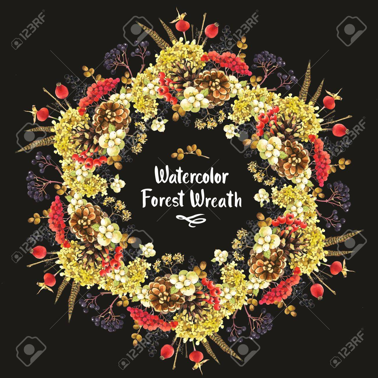 Beautiful Christmas Wreath And Headline With Winter Plants Rowan