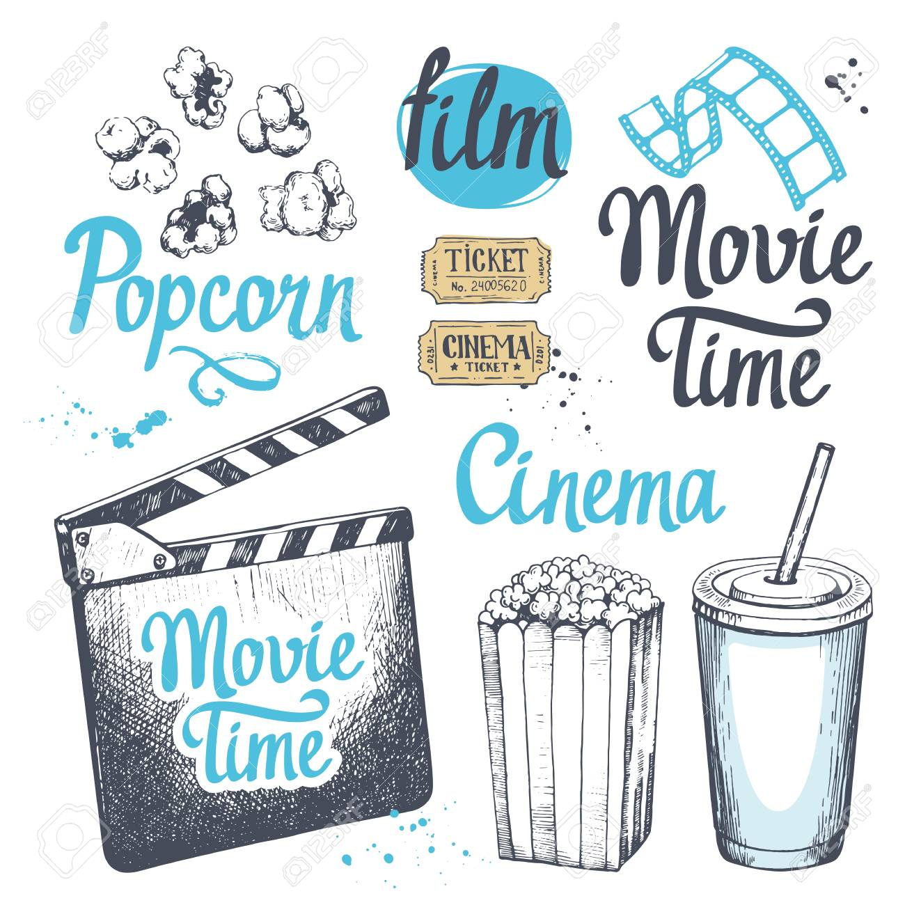Movie time vector illustration with sketch popcorn bucket, illustration,