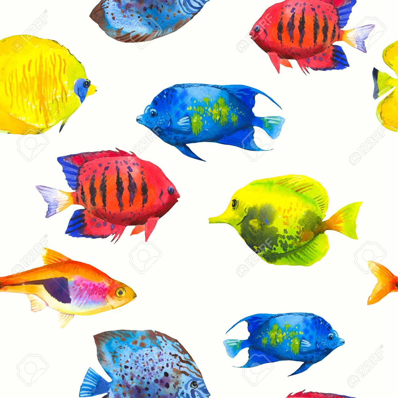 Seamless Pattern With Tropical Fish. Watercolor Illustration ...