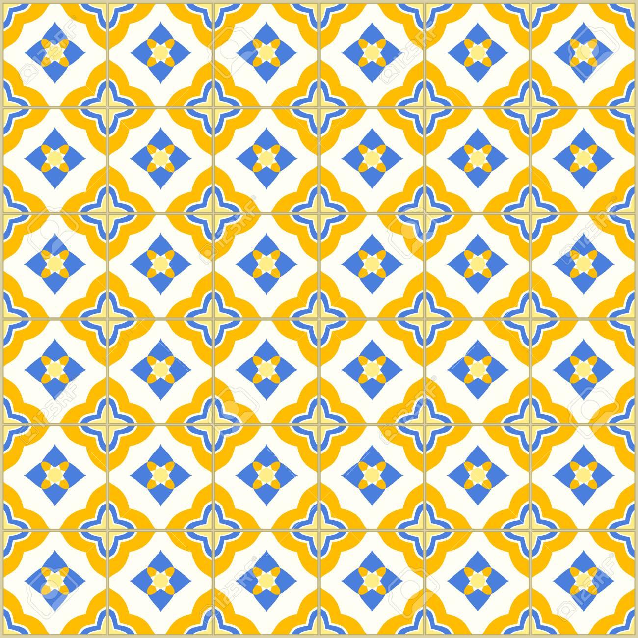 Nahtloses Muster Mit Portugiesischen Fliesen . Vektor Illustration Von  Azulejo Auf Weißem Hintergrund . Mediterraner