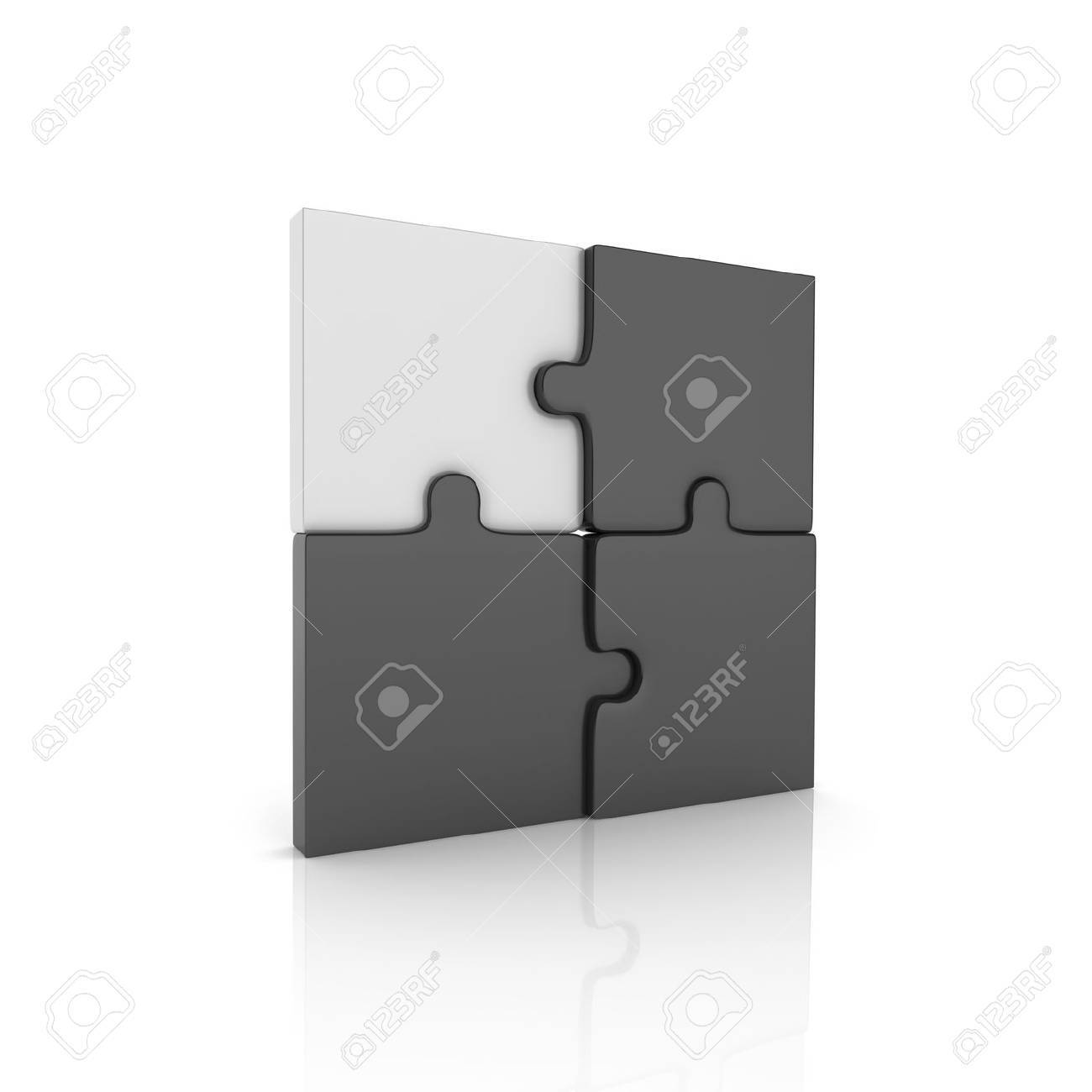 Illustration with puzzle elements and key puzzle (black collection) Stock Photo - 10131393