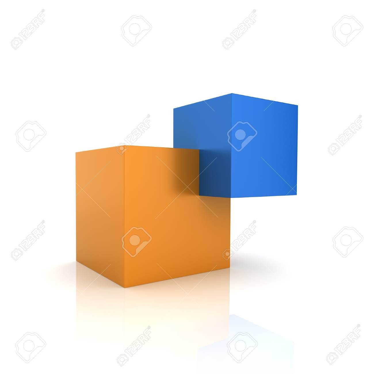 Concept of unity with two cubes (color collection)